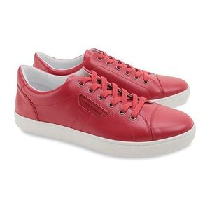 DOLCE & GABBANA ROUND TOE LEATHER SNEAKERS